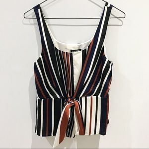 Express Tops - Express Navy and Rust Front Tie Blouse